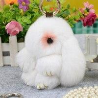 100 Real Genuine Rex Rabbit Fur Keychains Pendant Bag Car Charm Tag Cute Rabbit Bunny Toy