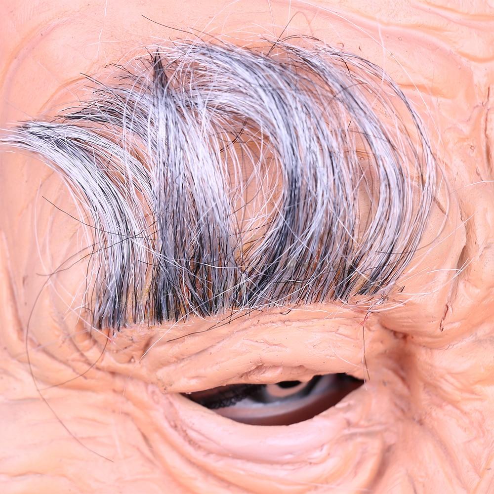 Creepy Old Man Mask With Hair Masquerade Old Man Mask Halloween Mask Props New (9)