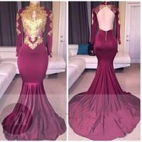 Burgundy Long Sleeves Gold Lace Evening Dresses Mermaid Appliques High Neck Backless Sexy Evening Dress Formal