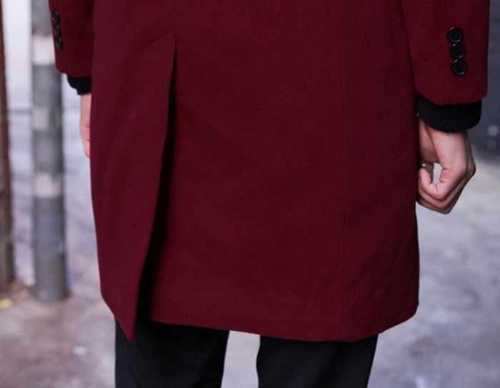 사용자 정의 만든 2019 가을-남자의 모직 코트 자 켓 겨울 옷깃 더블 브레스트-긴팔 남자 패션 남자 정장 코트 완두콩 코트