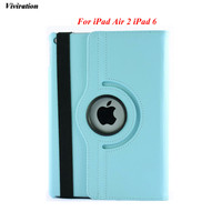Auto Wake Up/Sleep PU Leather Tablet PC Cover Case Latest Smart 360 Degree Rotating Stand Cover Case For iPad Air 2 For iPad 6