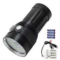 Diving Flashlight 10*XML L2 + 4*R + 4*UV/Purple Light LED Torch Fill Light Dive Flashlight Lamp With 4 * 18650 Battery + Charger