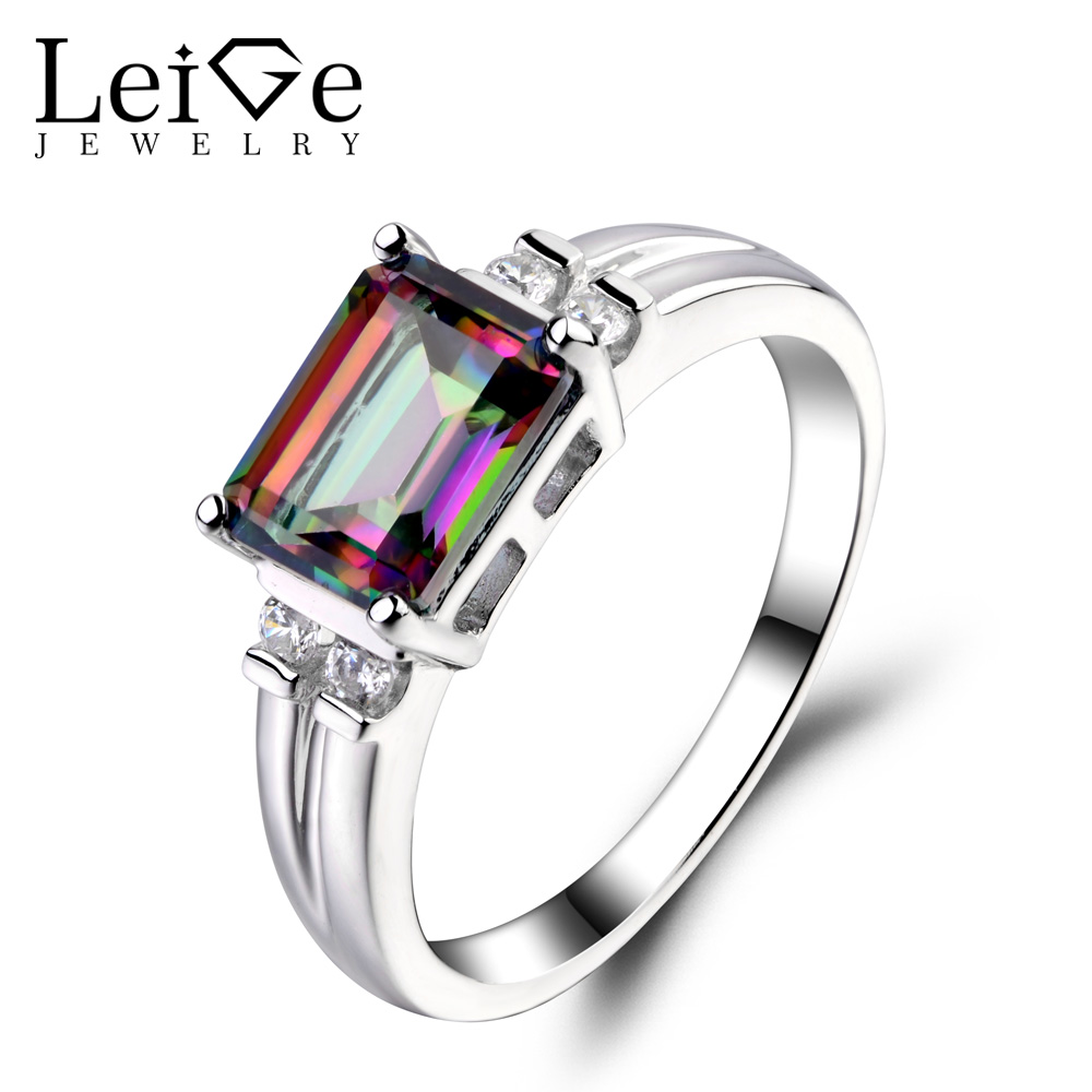 Leige Jewelry Mystic Topaz Ring Rainbow Topaz Emerald Cut Engagement Wedding Rings For Woman Sterling Sliver 925 Fine Jewelry цена