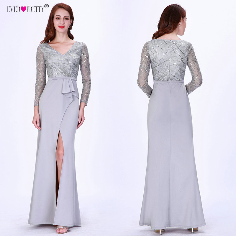 Long Sleeve Winter Autumn Satin   Prom     Dresses   Long 2018 Elegant V-neck Lace Appliques Special Occasion   Dresses   for Wedding Party