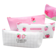 10Pcs/lot Lovely Strawberry Leather Pencil Bag Student Large Capacity Storage Stationery Office School Supplies