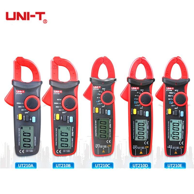 UNI T UT210A/B/C/D/E Mini Digital Clamp Meters AC/DC Current Voltage True RMS Auto Range VFC Capacitance Non Contact Multimeter