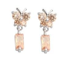 Butterfly Brown Morganite 4 8mm Semi Precious Silver Cool For Womens Stud Earrings ED0266