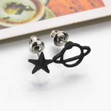 SexeMara Wholesale Sale New Black Jewelry Earrings / Saturn Hollow Stud Stud for Women Set Lovely Retro Space Perforated Fashion(China)