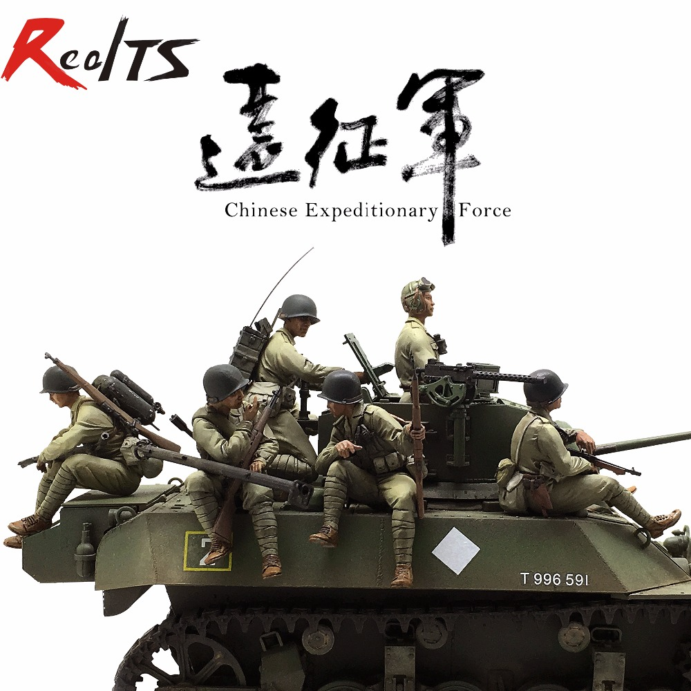RealTS Resin soldier 1/35 resin figure 7pcs chinese Expeditionary Force resin figure цена