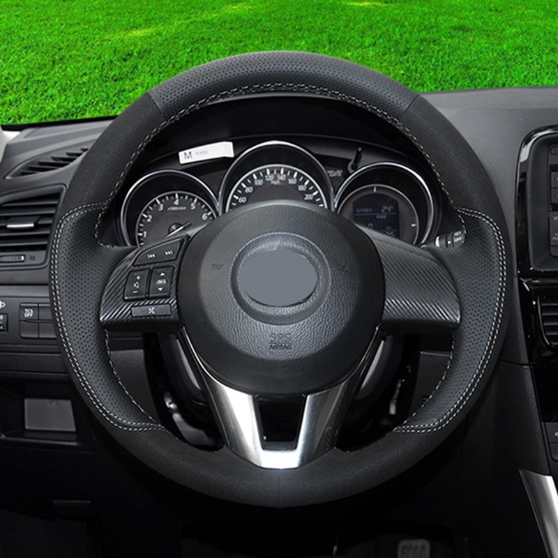 GNUPME Artificial Leather Steering Cover Black Car Steering Wheel Cover for Mazda CX-5 CX5 Atenza 2014 New Mazda 3 CX-3 2016