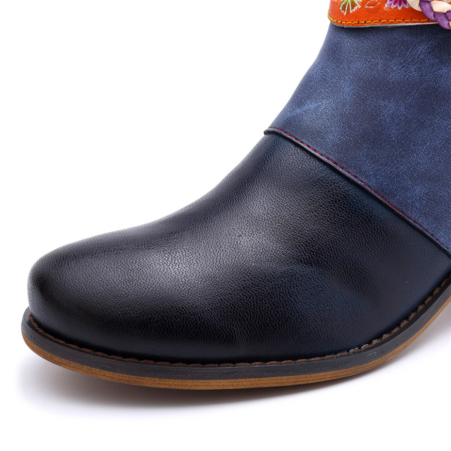 Vintage Bohemian Women Ankle Boots Shoes Side Zip Med Heels Ladies Shoes  Booties Genuine Leather Short Boots Shoe Woman (6)