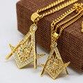 """Мужская нержавеющей стали масонской иллюминаты символ 24 К позолоченные бесплатный мейсон кулон с 24 """" / 27.5 """" кубинский цепи ожерелье хип-хоп"""