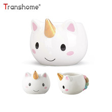 Transhome Creative 3D Unicorn Mug Ceramic Coffee Mug Milk Cup Porcelain Tea Cups And Mugs 300ml Cute Gold Stereo Unicorn Cup(China)