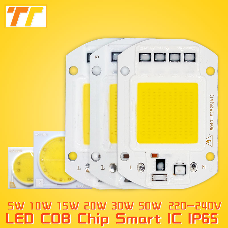 LED COB chip lamp 5W 15W 20W 30W 50W LED Chip 220V Input IP65 Smart IC integrated Driver for flood light no need driver to DIY high power led matrix for projectors 15w 25w 35w 50w diy flood light cob smart ic driver led diode spotlight outdoor chip lamp