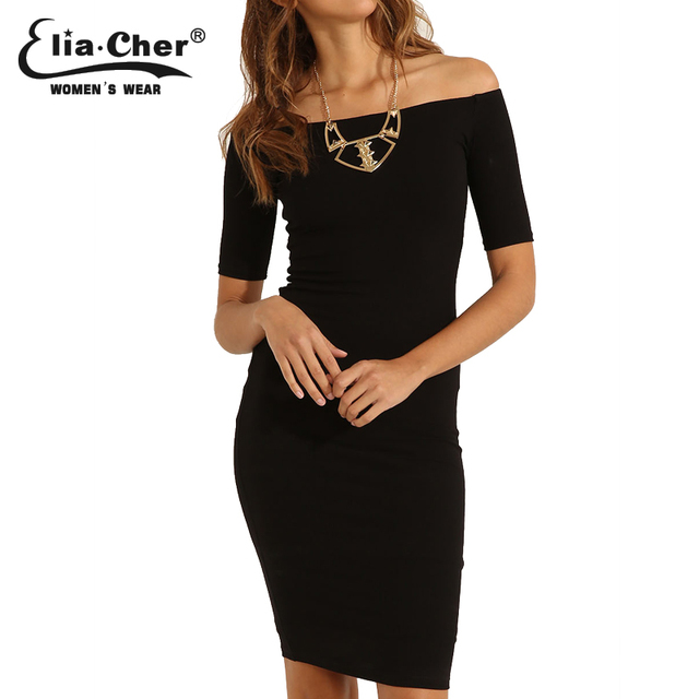New Women Summer Dress 2016 Casual And Sexy Shoulderless Black