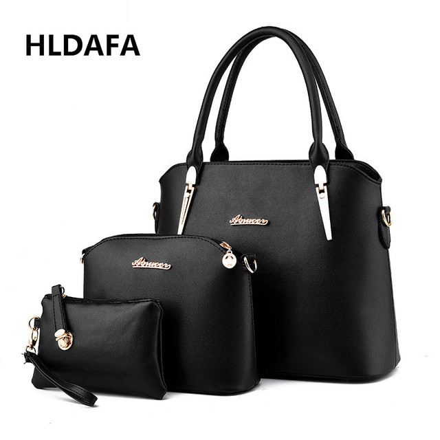 HLDAFA 3 In 1 Handbags Women Top-handle Bags Sequined Solid Female Fashion Bag  Woman Messenger Ladies PU Leather Shoulder Bag ce87cba46df17
