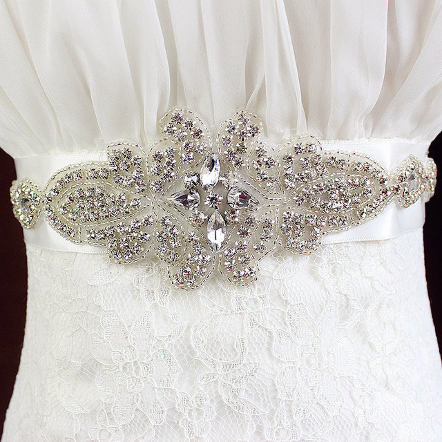 2016 hot White Crystal Rhinestone Pearl Wedding Bridal Dress Belt Cummerbunds Waistband Girdle Women Wedding Accessories