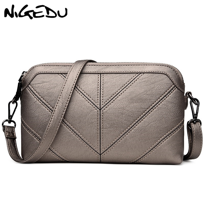 NIGEDU Brand women Messenger bag High quality soft PU Womens shoulder bag Mother gift Crossbody Bags 2018 new Clutches Handbags