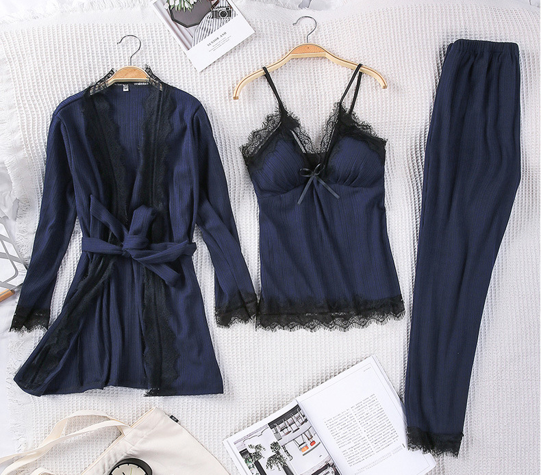 Queenral 3PCS Pyjama Femme Long Sleeve Pijama  For Women Sleepwear Set Home Clothes Pajamas Sets Sexy Lace Robe Pajamas         6