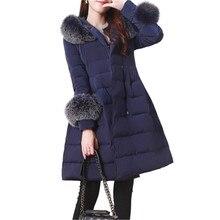 2017 New Winter Women Coat Warm Large Fur Collar Medium Long Fashion Down Cotton Jacket Thick Hooded Winter Down Coat SK122