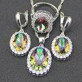 Rainbow Mystic 925 Sterling Silver White Criado Topázio clássico Conjuntos de Jóias Para As Mulheres Brincos/Anel/Pendente/Colar Caixa livre
