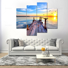 4 piece wall art canvas painting Blue sky lake and sunrise photo print posters home decor pictures office artwork no frame