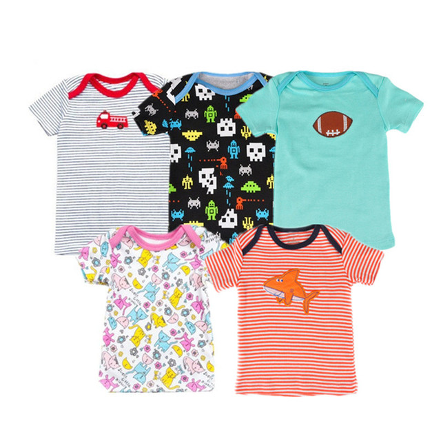 fc3320b3c 5pcs lot 100% Cotton Unisex Baby T shirt Summer Short sleeved ...