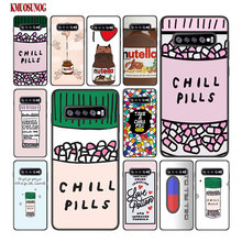 For Samsung Galaxy M30 M20 M10 Note 9 8 S10 S10e S9 S8 Plus S7 S6 Edge Black Silicone Case funny Chills Pills Chocolate Nutella