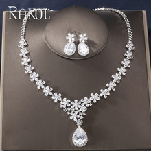 RAKOL Newest Luxury Brilliant Cubic Zircon Leaf Earrings Necklace Heavy Dinner Jewelry Set Wedding Bridal Dress Accessories