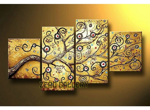golden trees of life oil painting home decoration wall hangings ...