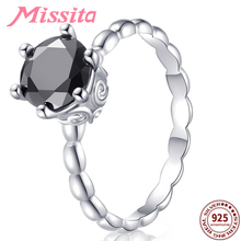 MISSITA 100% 925 Sterling Silver Black Crystal Rings for Women Romantic Gift with Stackable Zircon Brand Jewelry