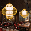 Творческий бамбука подвеска «фонарь» лампа ручной работы подвесной светильник для гостиной ресторана, ручной стержень, для кафе, для дома ...