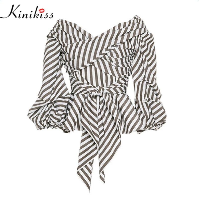 Kinikiss 2018 Women Fashion stripe Blouse V Neck Ladies Elegant Tops Clothing Shirts Tops Female Clothes Blouses Shirt with Bow