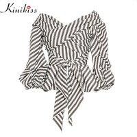 Kinikiss Mulheres Moda tarja Blusa Decote Em V Senhoras Elegantes Tops de Roupas Camisas Tops Roupas Femininas Blusas Camisa com Arco