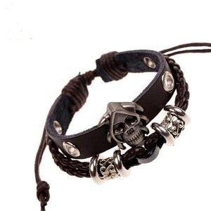 Aleación antigua gótico cráneo tachonado encanto pulseras marrón cuero trenzado brazalete de varias capas brazalete y pulsera para Mujeres Hombres joyería