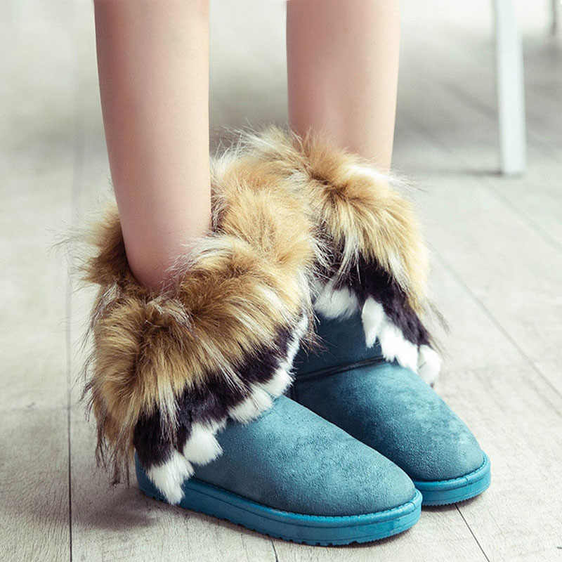 Winter Snow Boots Women Faux Fur Ankle Booties Female Slip-On Warm Fashion Shoes Ladies Flat Comfortable Footwear Plus Size