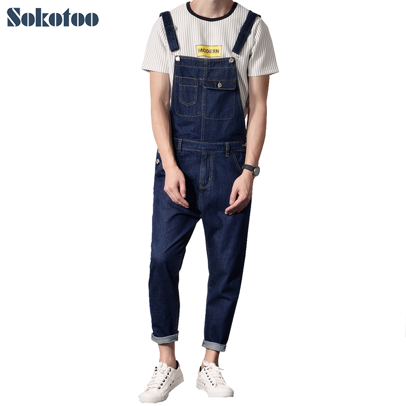 Sokotoo Men's casual pocket dark blue denim bib overalls Long   jeans   Jumpsuits