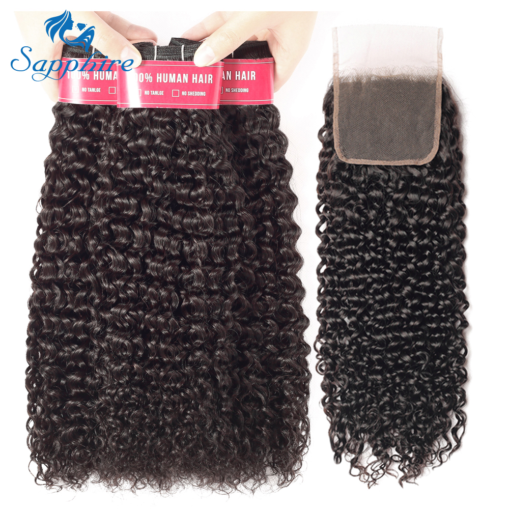 Sapphire Hair Malaysia Afro Kinky Curly Human Hair Weave Remy Hair Extensions Bundles With 4 4