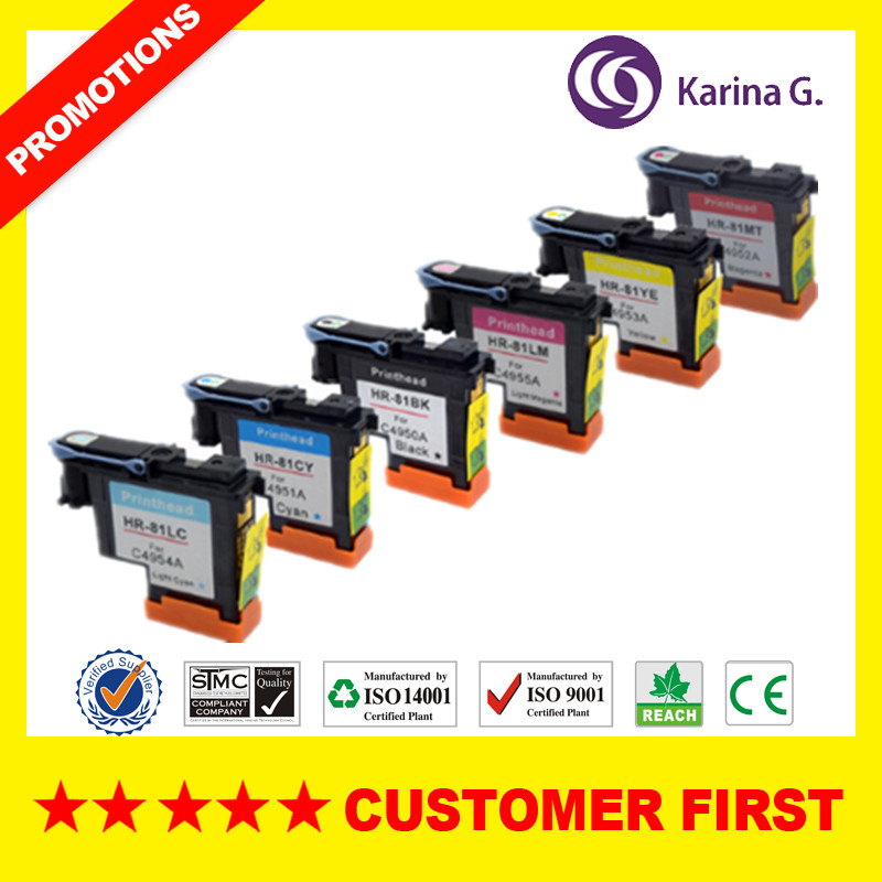 (6 pieces/lot) remanufactured color print head for HP81 use for HP Design Jet 5000 5500PS for hp 81 print head