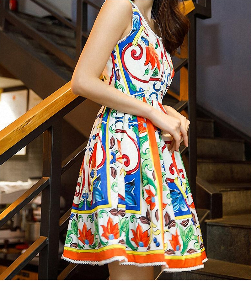 Fashion Lace Floral Print A-Line Summer Dress Casual Spliced Ruched Mini Dresses Girly O-Neck Sleeveless Empire Women Dress