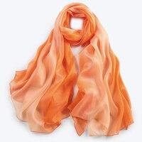 New Gradient Color 100 Silk Scarf Women Spring Echarpe Smooth Summer Wrap Voile Luxury Scarves Foulard