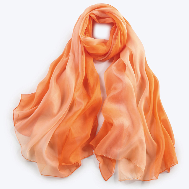 New Gradient Color 100% Silk Scarf Women  Ombre Color Echarpe Smooth Summer Wrap Voile Luxury Scarves Foulard Beach cover-up