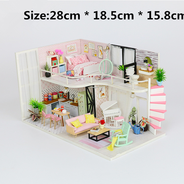 DIY Doll House Building Model Wooden Furniture Assemble Miniature Creative Houses For LOL Dolls Toys For