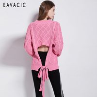 2019 New Autumn and Winter Deep V neck Loose Women Sweater back hollow out sexy pink wool sweater