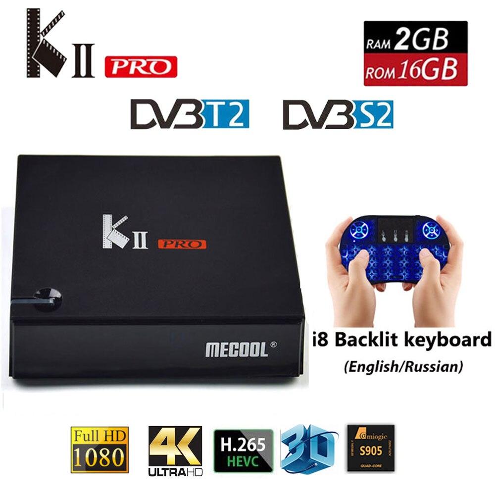 KII PRO DVB-S2 DVB-T2 S905d Android 5.1 TV Box Quad Core 2 GB 16 GB K2 pro DVB T2 S2 4 K Médias lecteur CCCAM NEWCAMD Double Wifi BT4.0