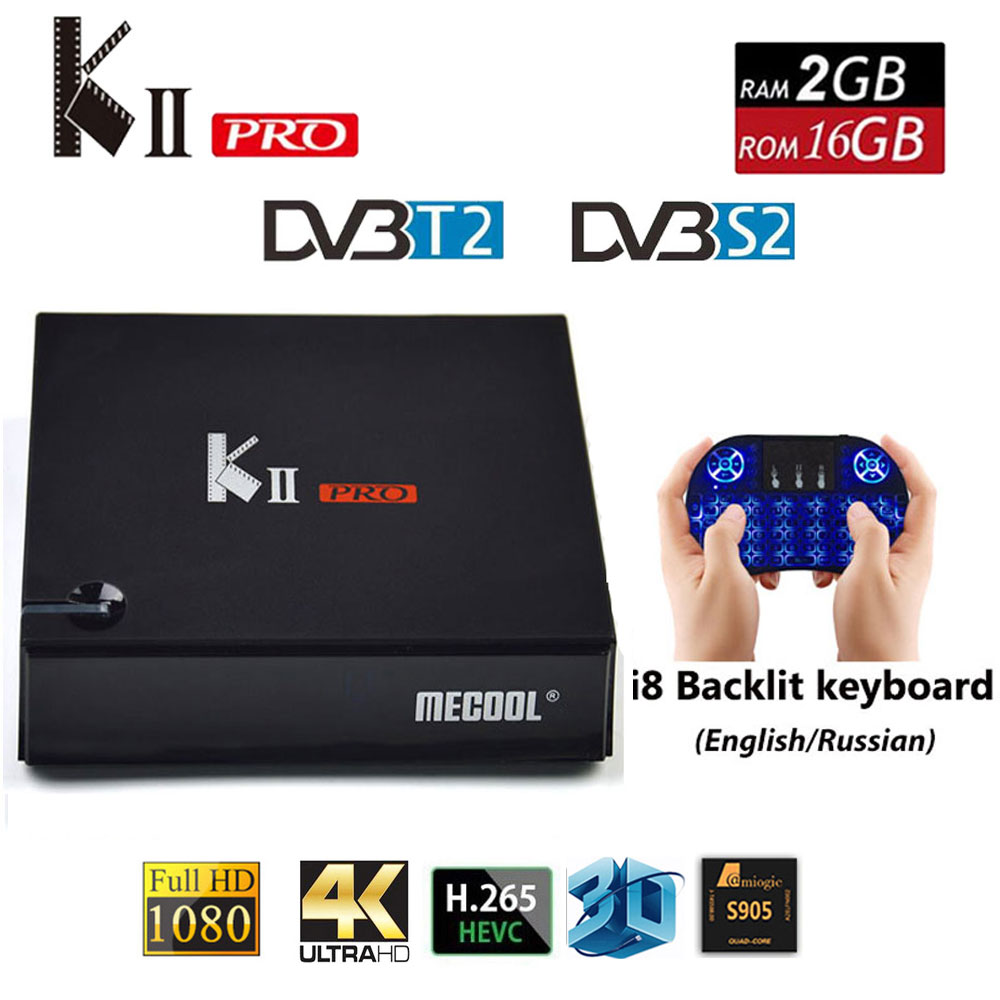 KII PRO Decoder DVB-S2 DVB-T2 Android 7.1 Smart TV Box S905d Quad Core 2 gb 16 gb K2 pro 4 karat media player dvb t2 s2 Dual Wifi BT4.0