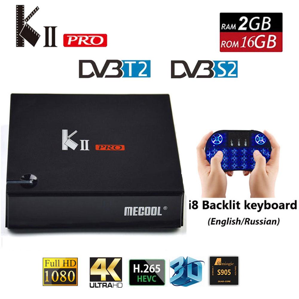 KII PRO decodificador DVB-S2 DVB-T2 Android 7,1 Smart TV caja S905d Quad Core 2 GB 16 GB K2 pro 4 K reproductor multimedia dvb t2 s2 Dual Wifi BT4.0