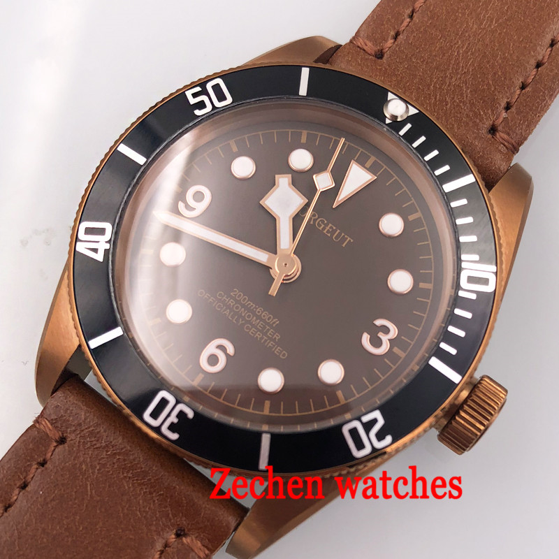 41mm CORGUET coffee dial coffee case Sapphire Glass 21 jewels Automatic MIYOTA 8215 automatic mens Watch polisehd 41mm corgeut black dial sapphire glass miyota automatic mens watch c102