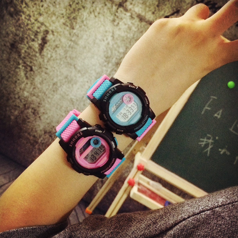 Cute Fashion Digital LED Stop Watch Rubber Watch Wristwatches Gift Hours for Women Girls Children Black Pink OP001 diray dr 306g children digital watch