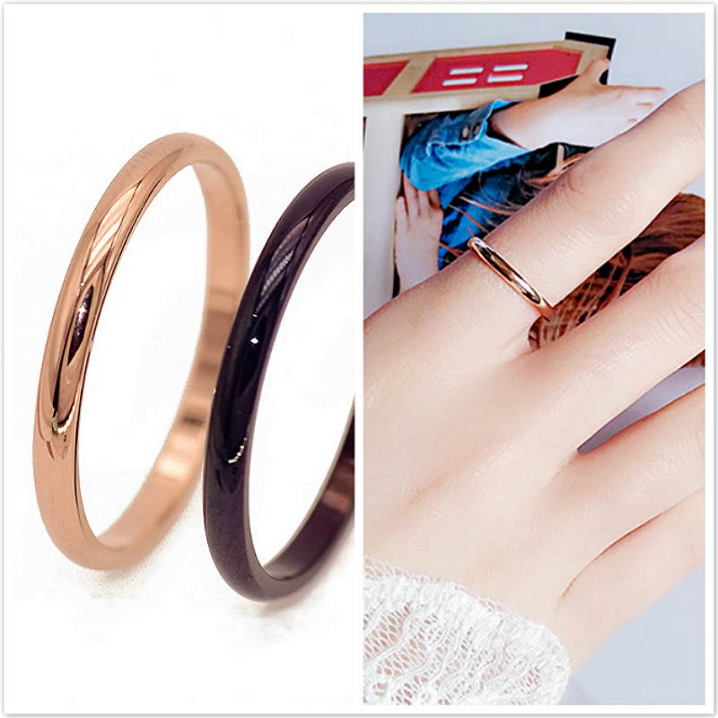 Couples Rings Rose Gold Wedding Titanium Steel Women Simple Anti-Allergy New Smooth